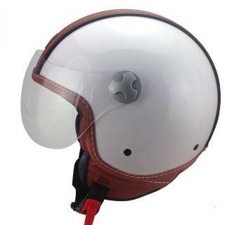 Hjälm Öppen / visir vit med brun läderdetalj L